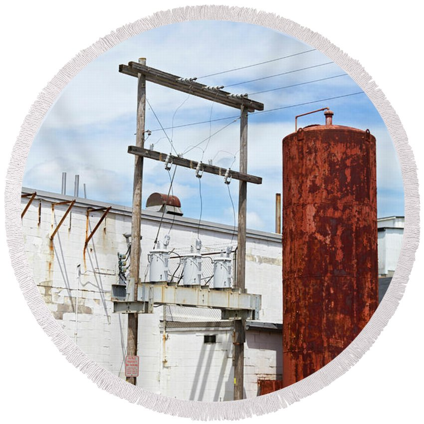 Round Beach Towel featuring the photograph Industrial Building One by Sara Schroeder