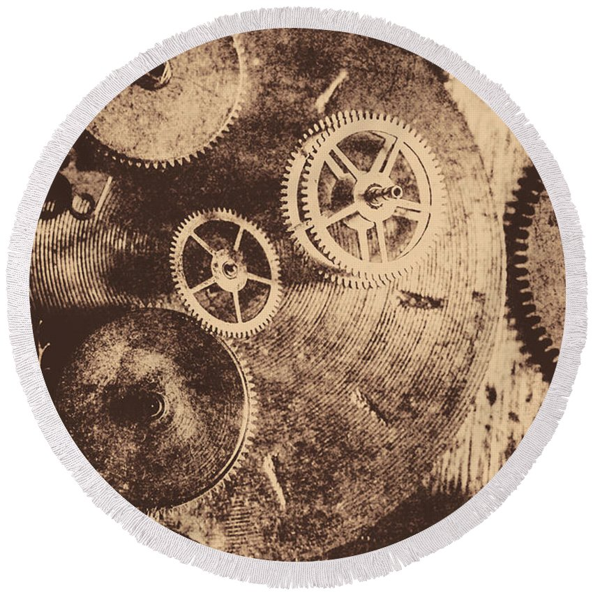 Vintage Round Beach Towel featuring the photograph Industrial Gears by Jorgo Photography - Wall Art Gallery