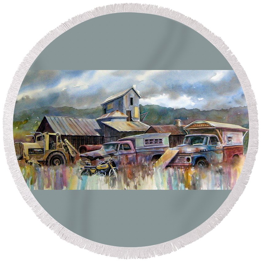 Trucks Round Beach Towel featuring the painting Industrial Recreation Park by Ron Morrison