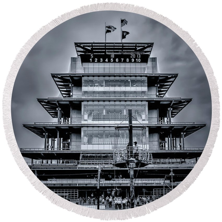 2013 Round Beach Towel featuring the photograph Indy 500 Pagoda - Black And White by Ron Pate