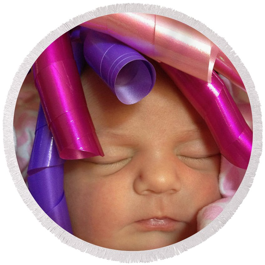 Ribbon Round Beach Towel featuring the photograph Infant With Ribbon Curls by Ginger Wakem