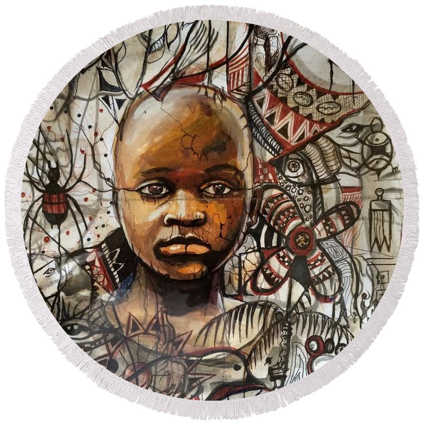 African Child Round Beach Towel featuring the painting Infantile Expeditions by Akan David