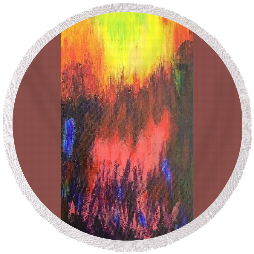 Abstract Round Beach Towel featuring the painting Inferno I by Kari Hunt