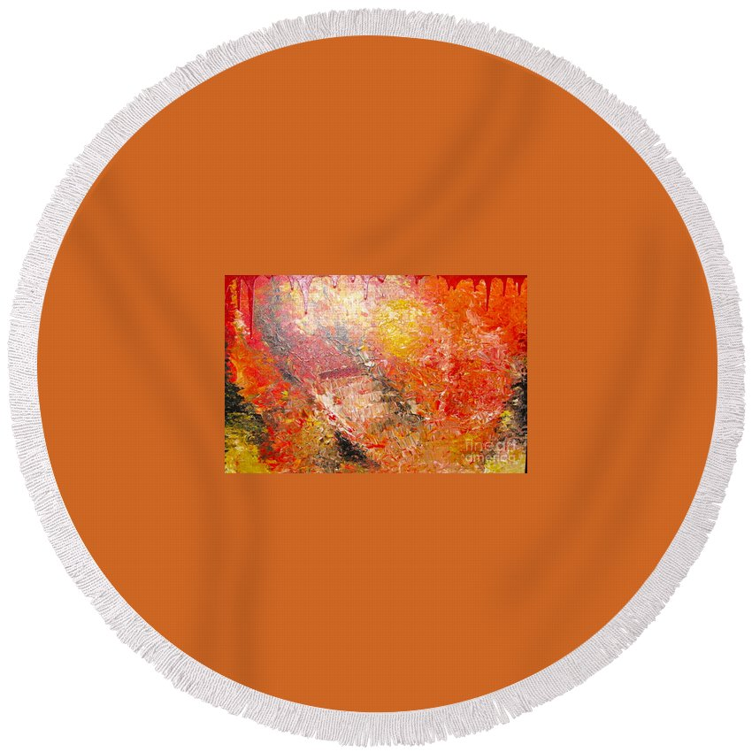 Red Round Beach Towel featuring the painting Inferno by Jacqueline Athmann