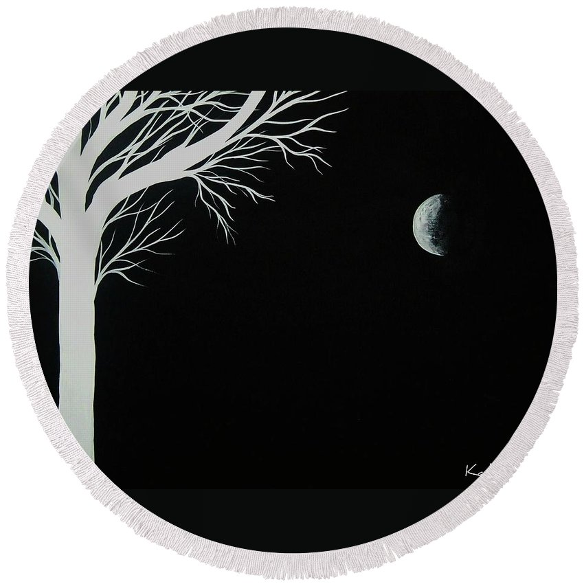 Moon Round Beach Towel featuring the painting Infinite by Katie Slaby