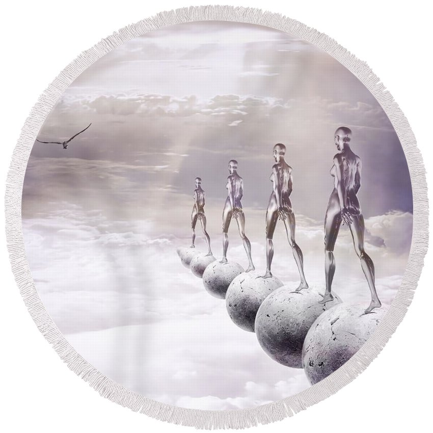 Surreal Round Beach Towel featuring the digital art Infinity by Jacky Gerritsen