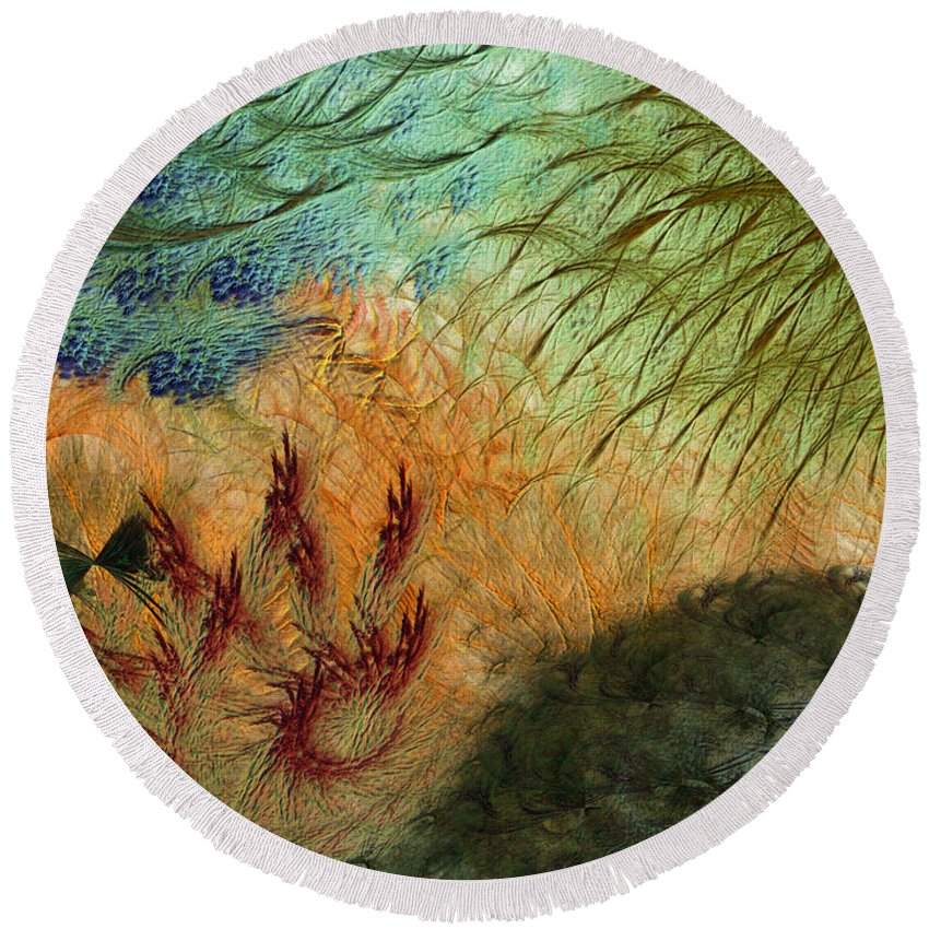 Abstract Round Beach Towel featuring the digital art Inflammation by Casey Kotas