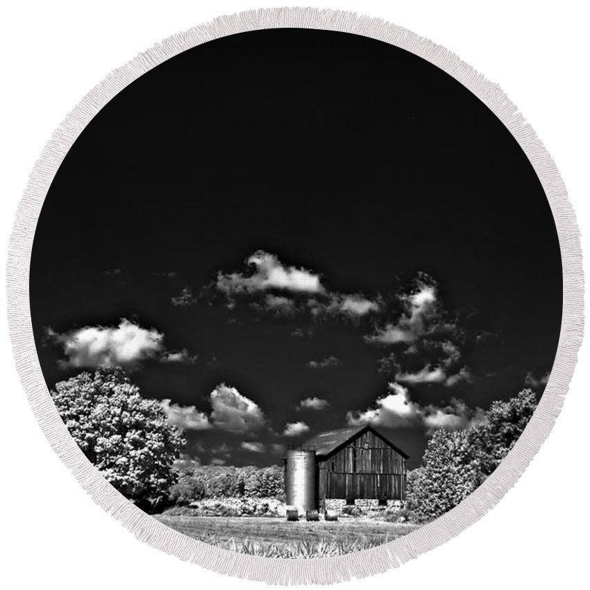 Infrared Round Beach Towel featuring the photograph Infrared Farm by Steve Harrington