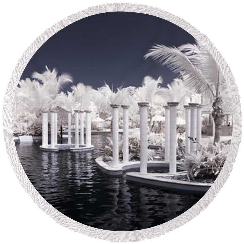 3scape Photos Round Beach Towel featuring the photograph Infrared Pool by Adam Romanowicz