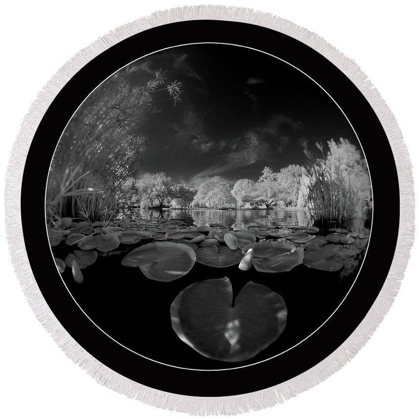 Infrared Round Beach Towel featuring the photograph Infrared Water Garden by Gary Allen