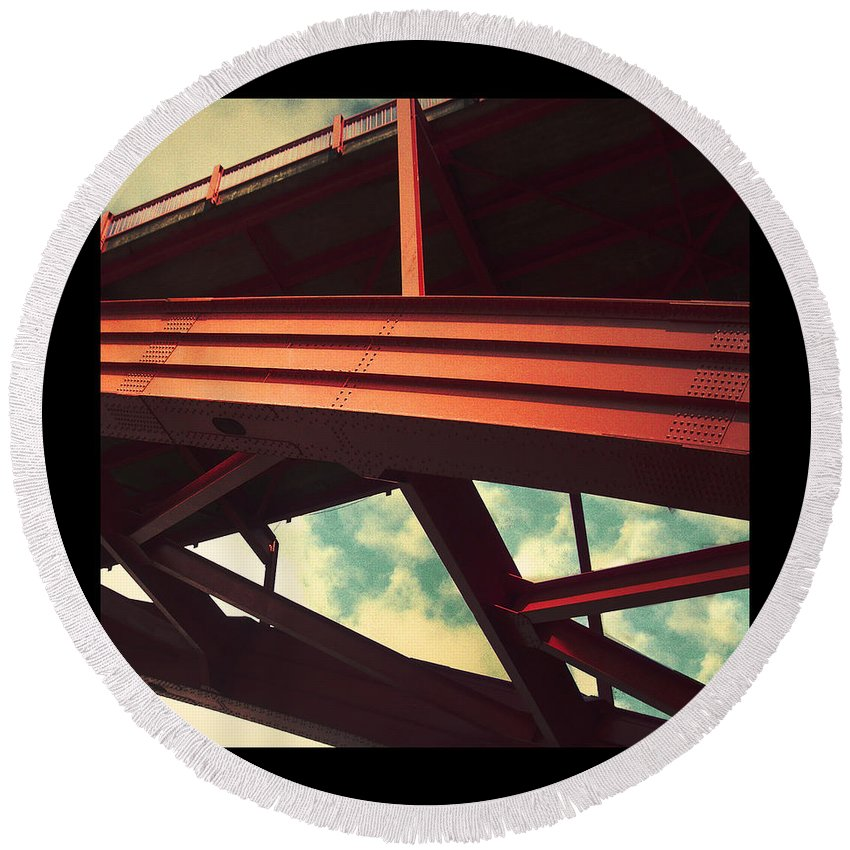 Bridge Round Beach Towel featuring the photograph Infrastructure by Tim Nyberg