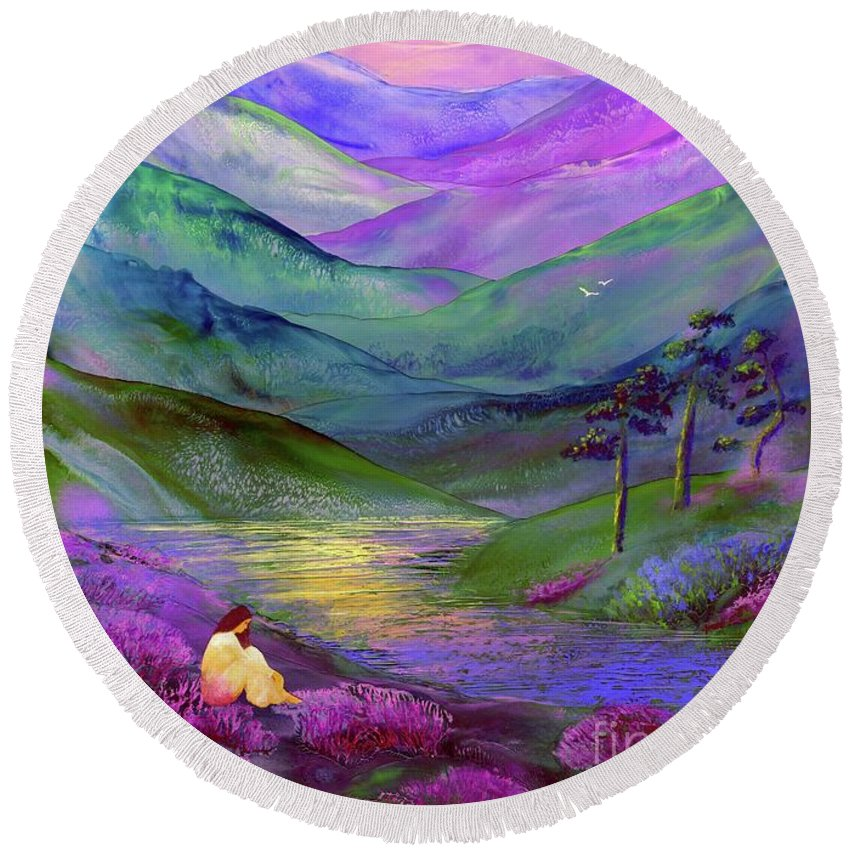 Meditation Round Beach Towel featuring the painting Inner Flame, Meditation by Jane Small