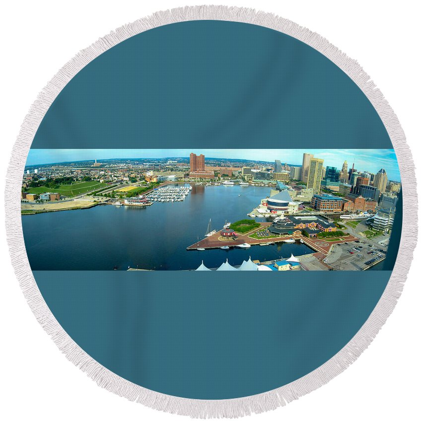 Baltimore Round Beach Towel featuring the photograph Inner Harbor Baltimore Panorama by Thomas Marchessault