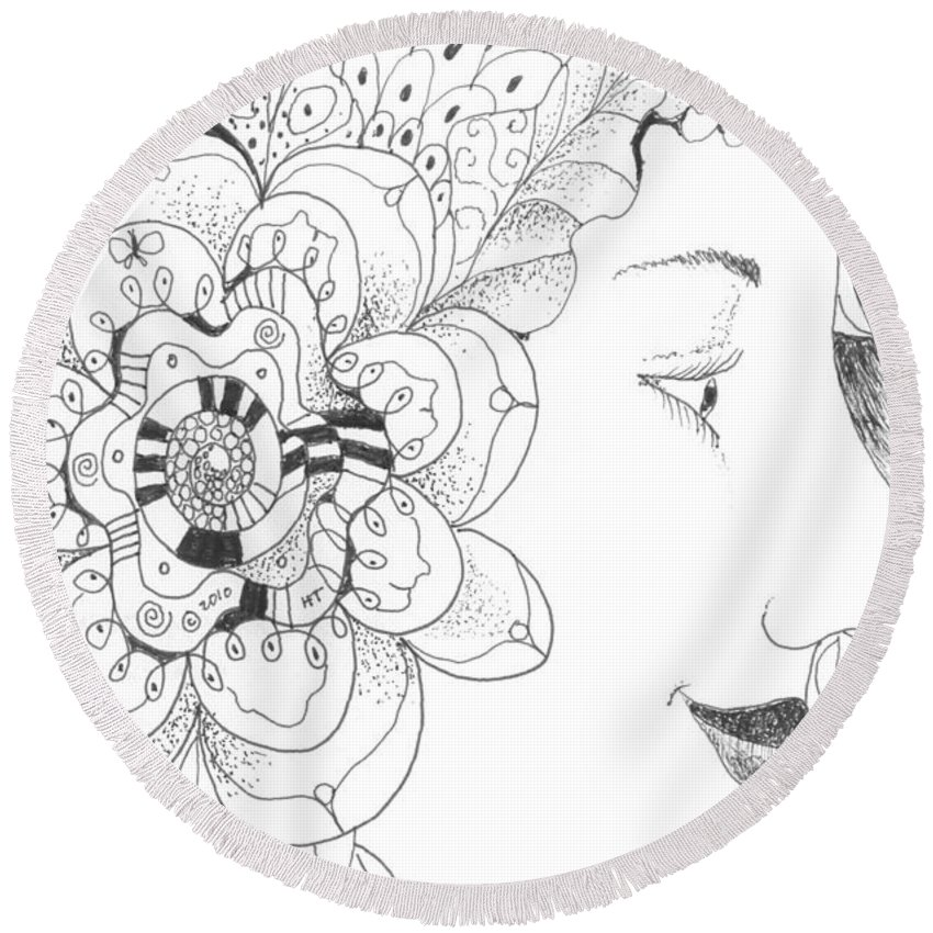 Life Round Beach Towel featuring the drawing Innocence And Experience by Helena Tiainen