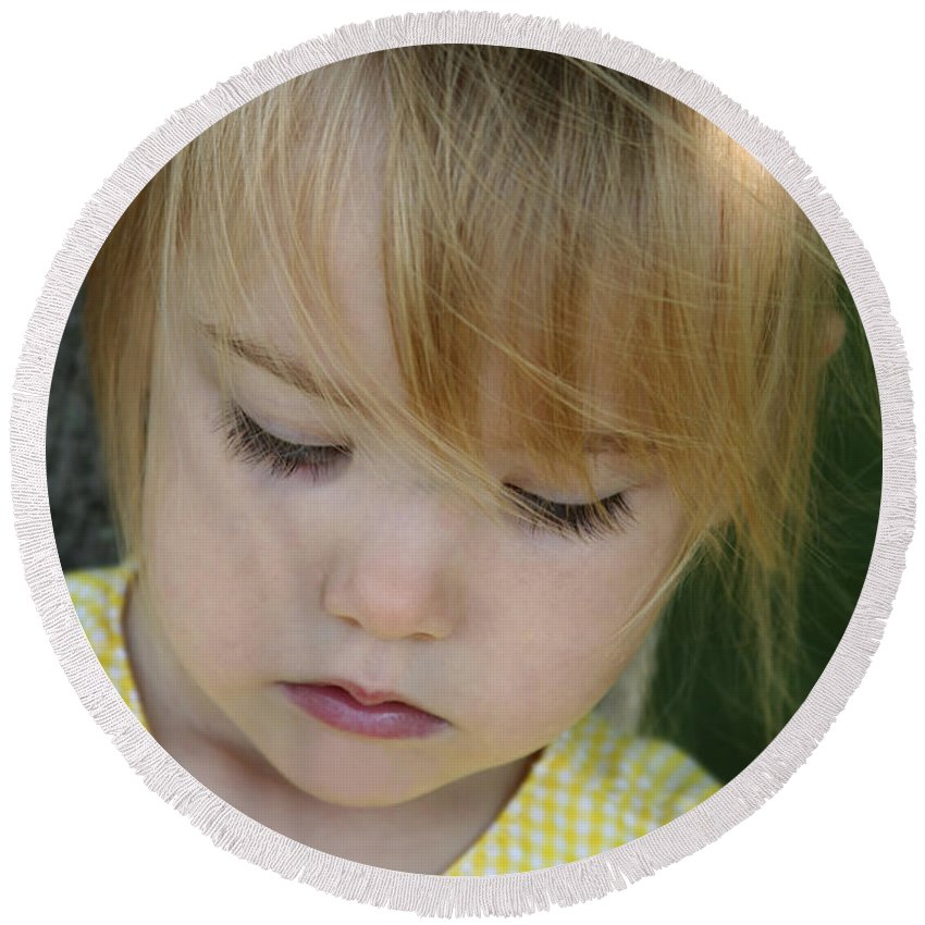 Angelic Round Beach Towel featuring the photograph Innocence II by Margie Wildblood