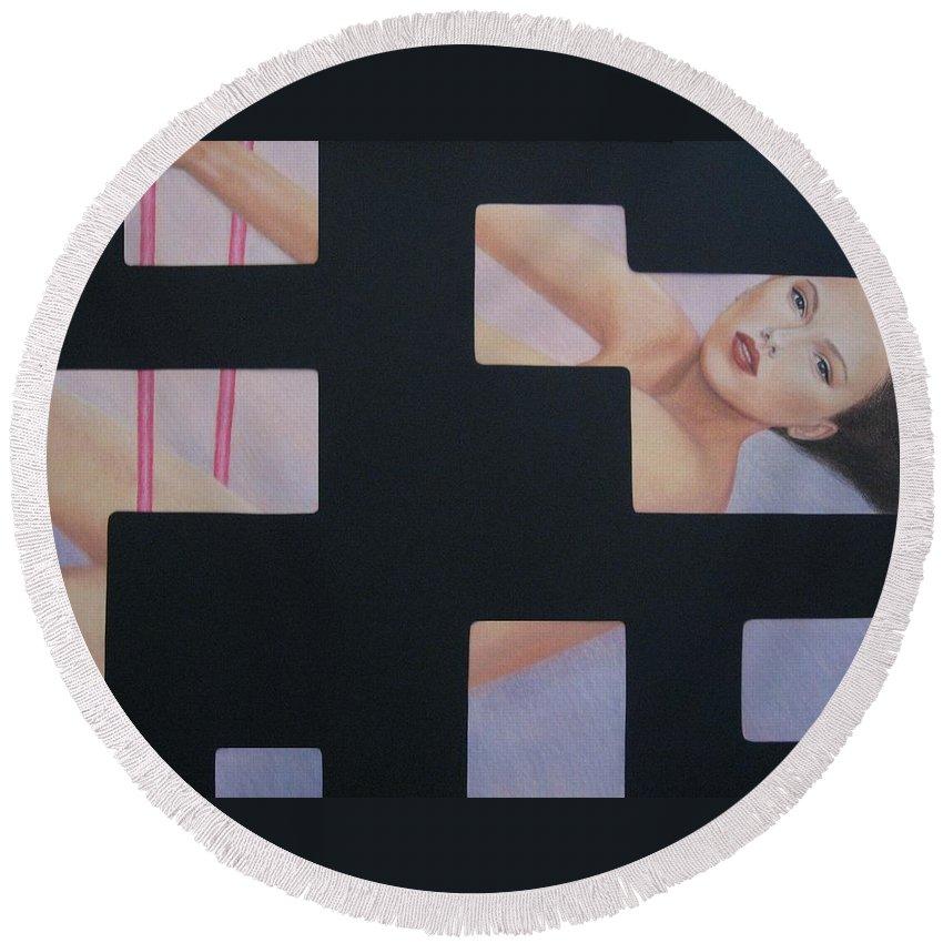 Woman Round Beach Towel featuring the painting Innocent Flirtation by Lynet McDonald