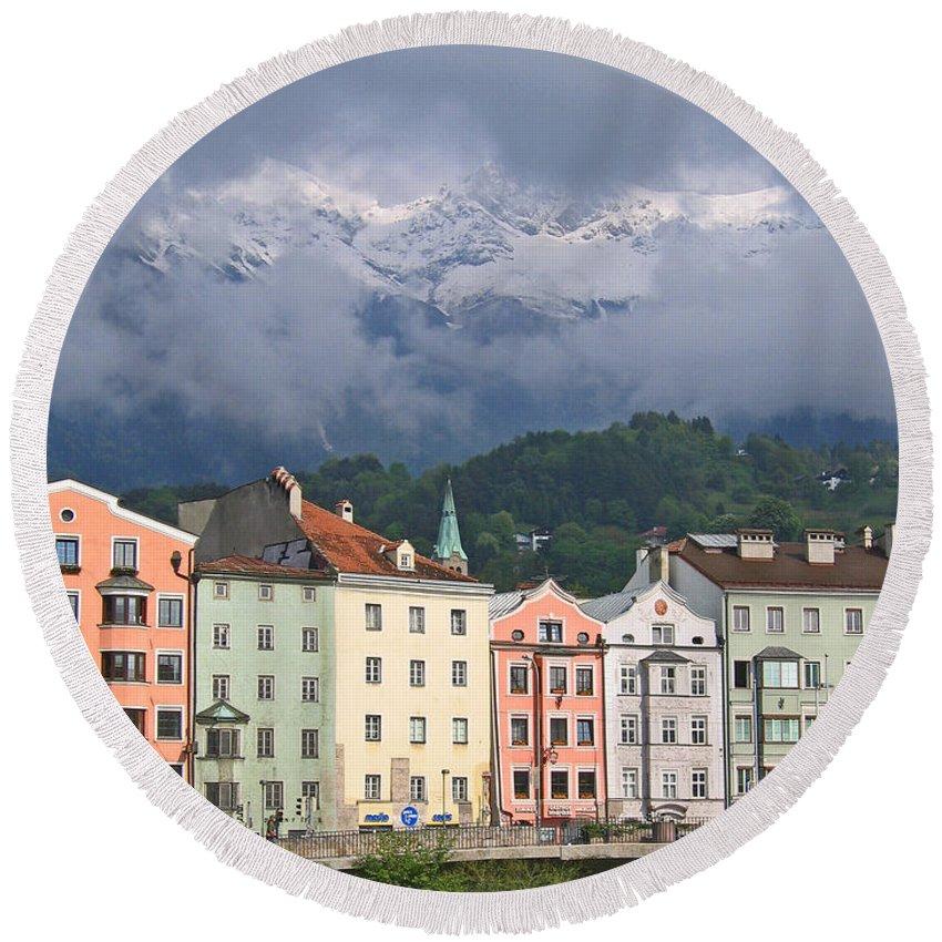 Innsbruck Round Beach Towel featuring the photograph Innsbruck by Ann Horn