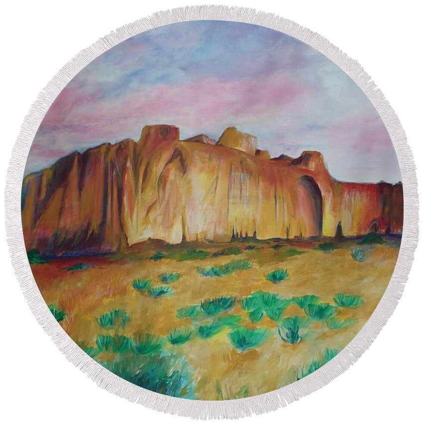 Western Landscapes Round Beach Towel featuring the painting Inscription Rock by Eric Schiabor