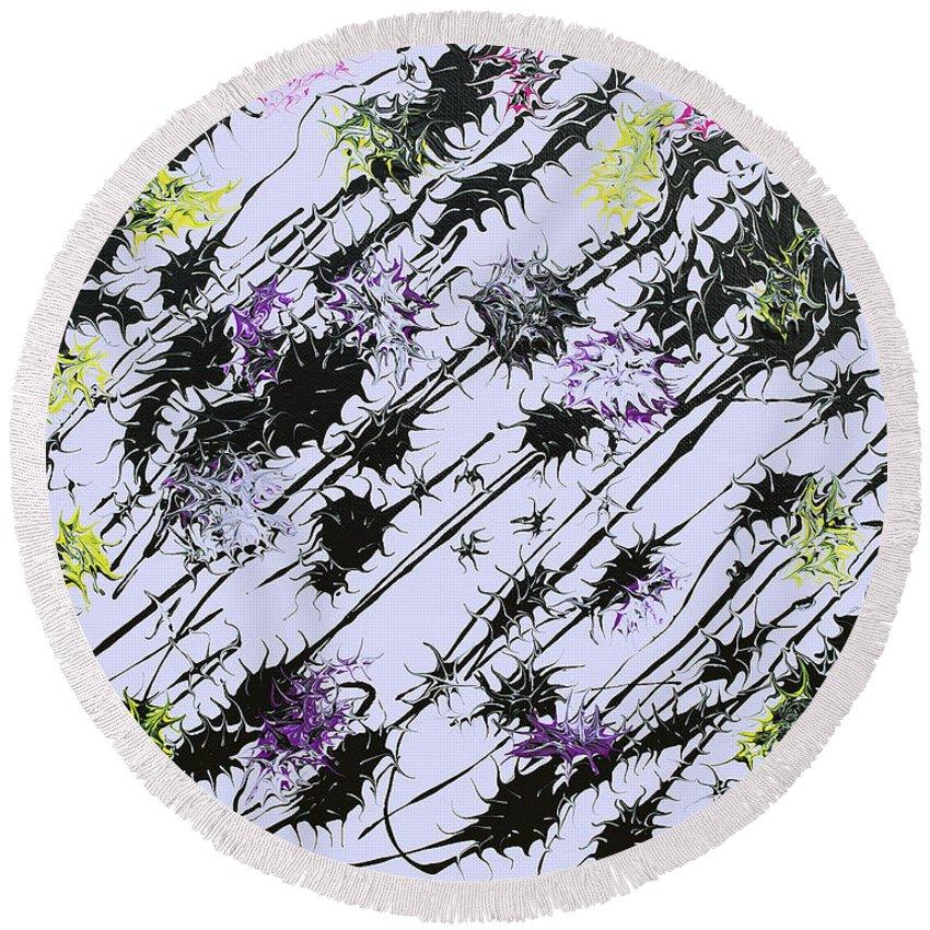 Keith Elliott Round Beach Towel featuring the painting Insects Loathing - V1db100 by Keith Elliott