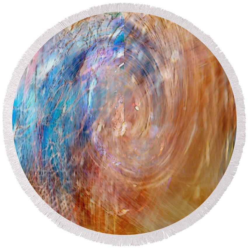 Abstract Art Round Beach Towel featuring the digital art Inside My Head by Linda Sannuti