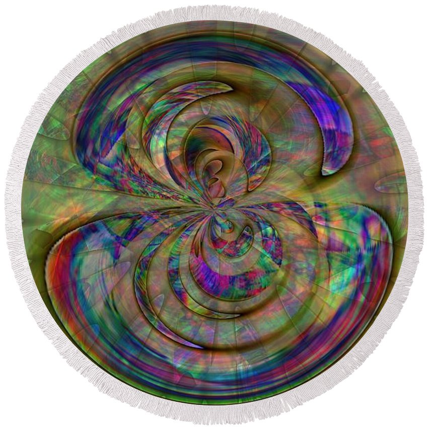 Abstract Round Beach Towel featuring the digital art Inside The Bud by Richard Thomas