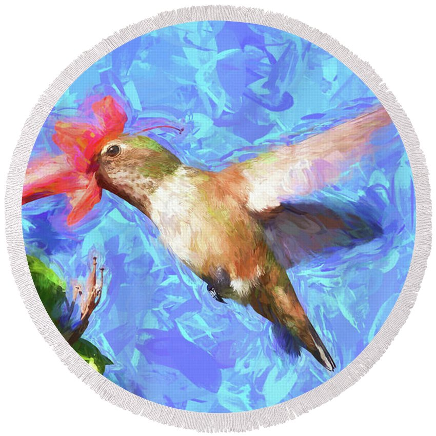 Linda Brody Round Beach Towel featuring the digital art Inside The Flower - Impressionism Finish by Linda Brody