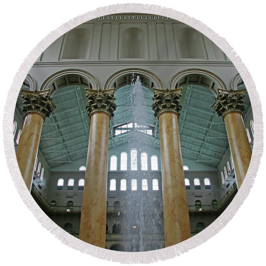 Washington Round Beach Towel featuring the photograph Inside The National Building Museum by Cora Wandel