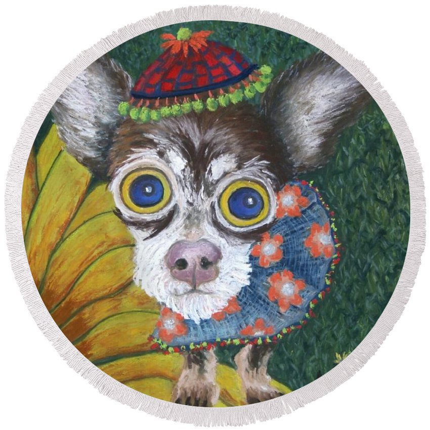 Chihuahua Round Beach Towel featuring the painting Inside Van Gogh's Garden Sits Sunflower Sally by Minaz Jantz