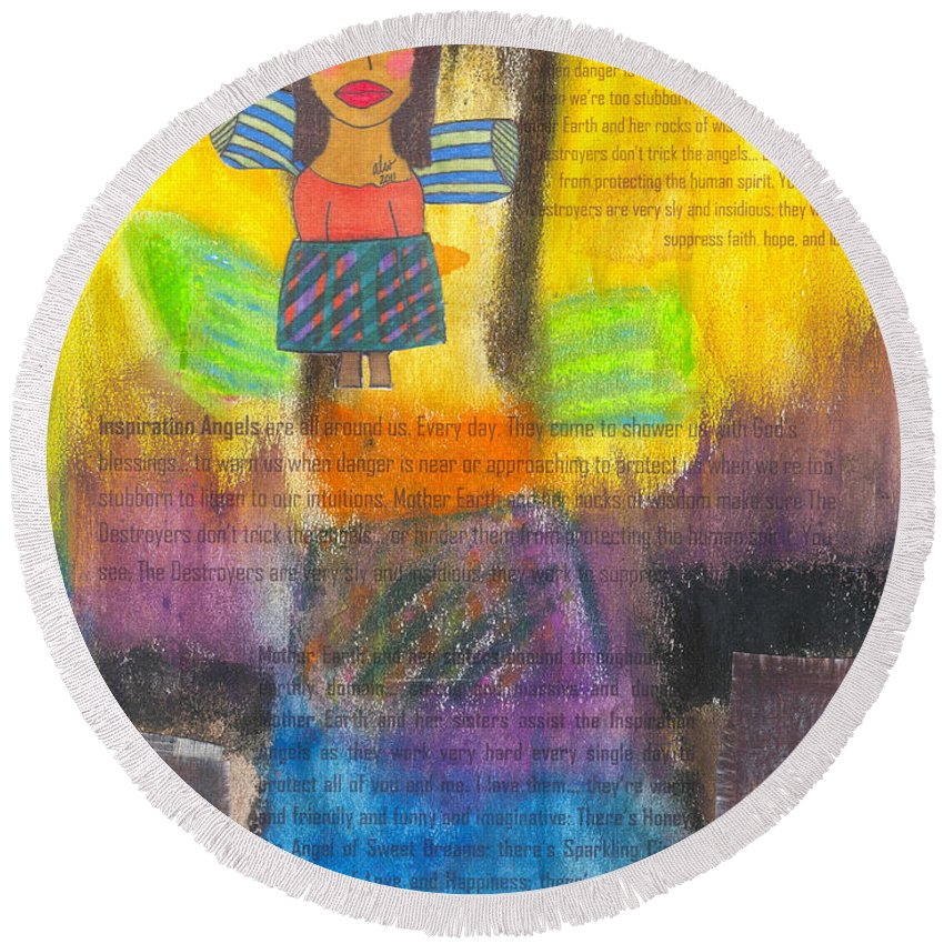 Angels Round Beach Towel featuring the mixed media Inspiration Angels by Angela L Walker