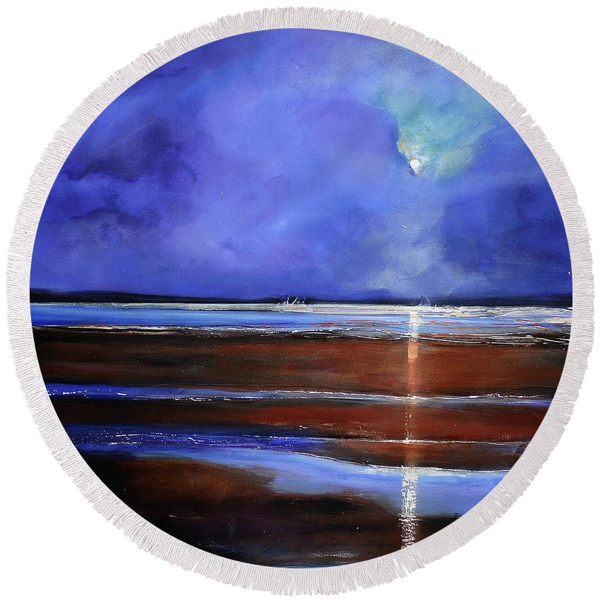 Beach Round Beach Towel featuring the painting Inspiration Beach by Toni Grote