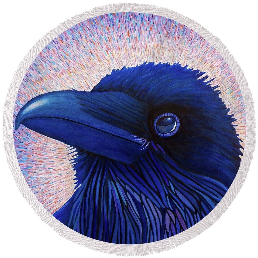 Raven Round Beach Towel featuring the painting Inspiration by Brian Commerford