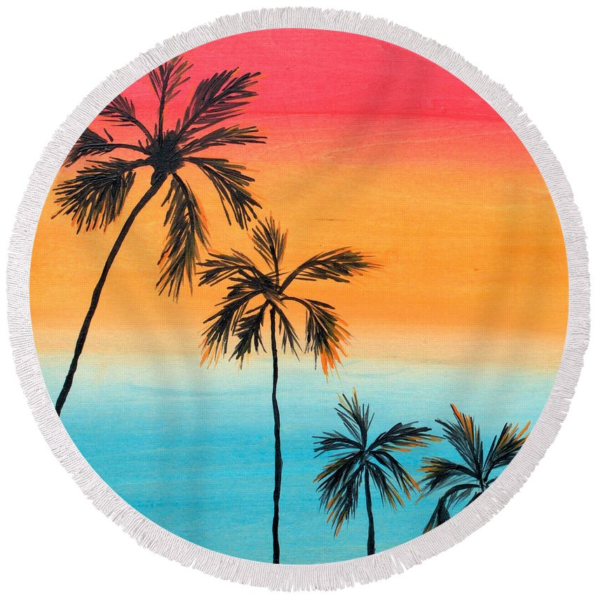 Palm Trees Round Beach Towel featuring the painting Inspiration by Drica Lobo