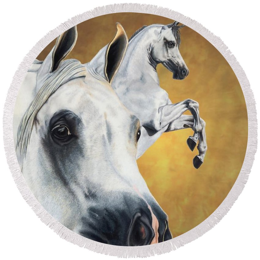 Horse Round Beach Towel featuring the drawing Inspiration by Kristen Wesch