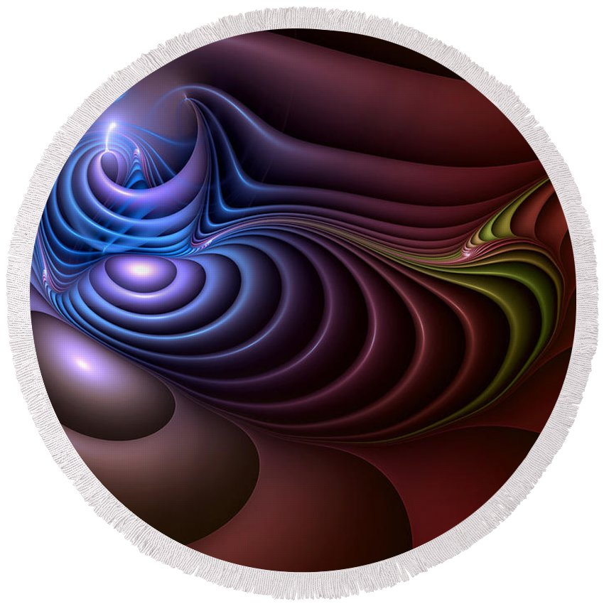 Abstract Round Beach Towel featuring the digital art Inspiration Out Of Inanity by Casey Kotas