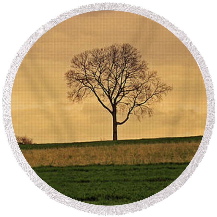 Lone Tree Round Beach Towel featuring the photograph Inspiration by Scott Mahon