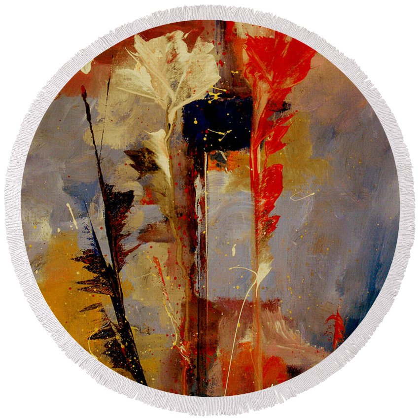 Abstract Botanical Floral Flowers Color Red Pink Blue White Yellow Orange Purple Round Beach Towel featuring the painting Inspire Me by Ruth Palmer
