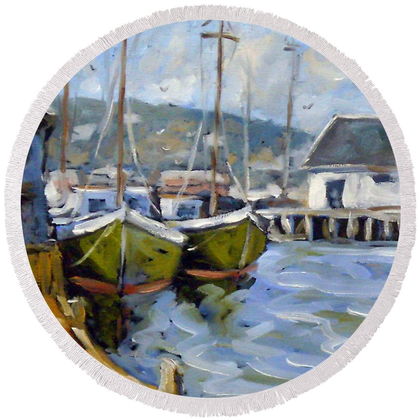 Fishing Boats; Seascape Round Beach Towel featuring the painting Inspired By E Gruppe by Richard T Pranke