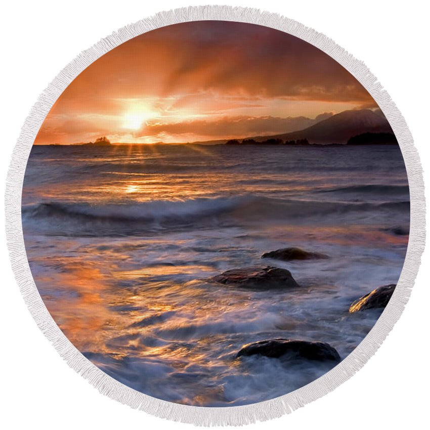 Alaska Round Beach Towel featuring the photograph Inspired Light by Mike Dawson
