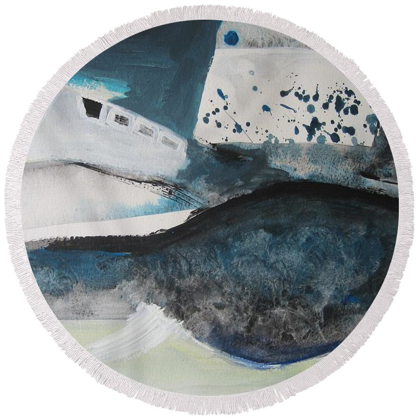 Abstract Paintings Round Beach Towel featuring the painting Instead Of Explanation by Seon-Jeong Kim