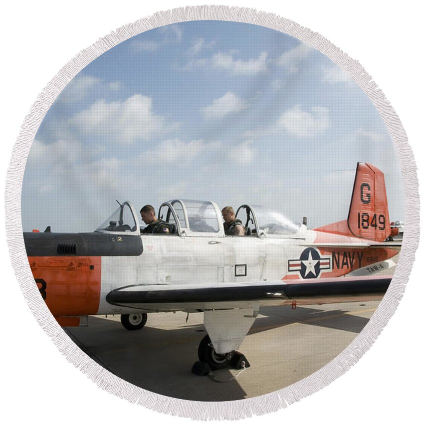 Trainer Round Beach Towel featuring the photograph Instructor Pilot And Student In A T-34 by Stocktrek Images
