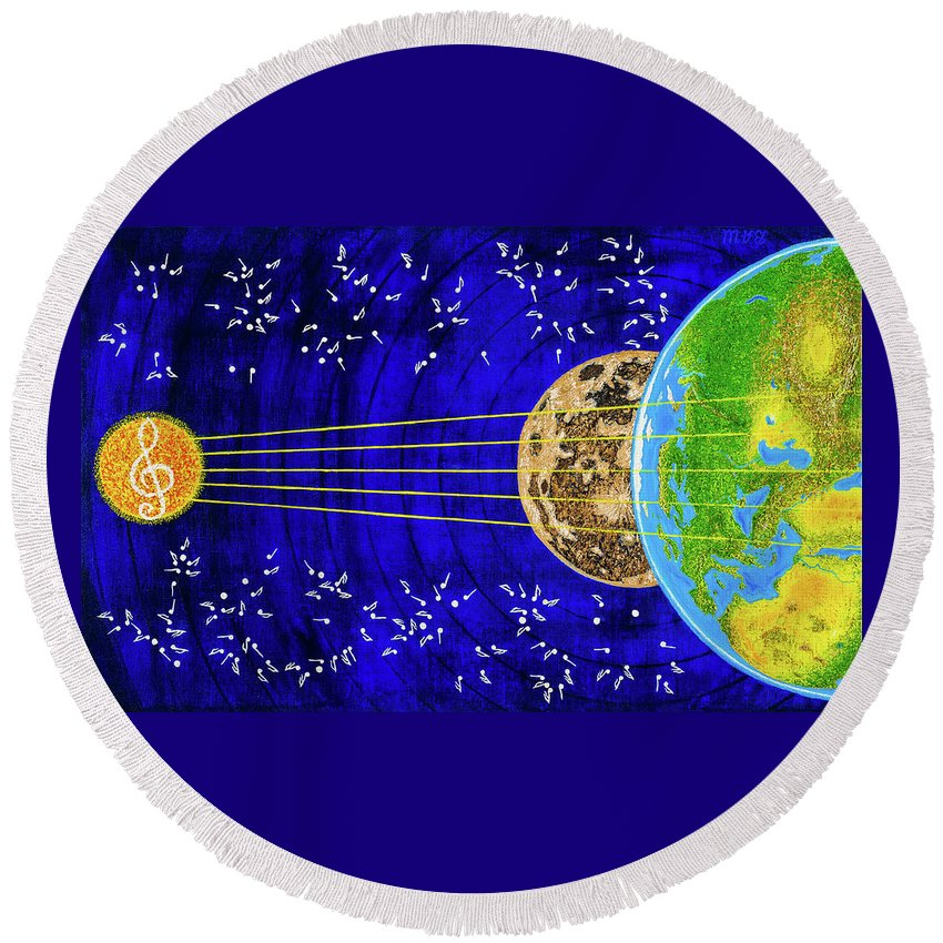 Instrument Round Beach Towel featuring the painting Instrument by Slava Shahov