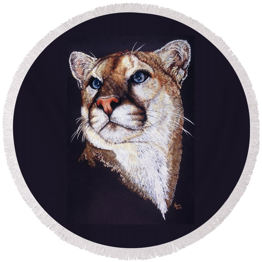 Cougar Round Beach Towel featuring the drawing Intense by Barbara Keith