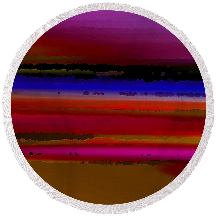 Abstract Round Beach Towel featuring the digital art Intensely Hued II by Ruth Palmer