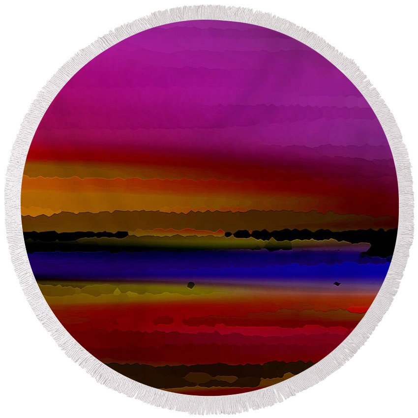 Abstract Round Beach Towel featuring the digital art Intensely Hued by Ruth Palmer