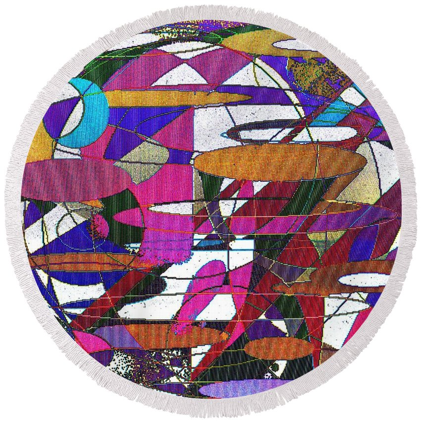 Abstract Round Beach Towel featuring the digital art Intergalatic by Ian MacDonald