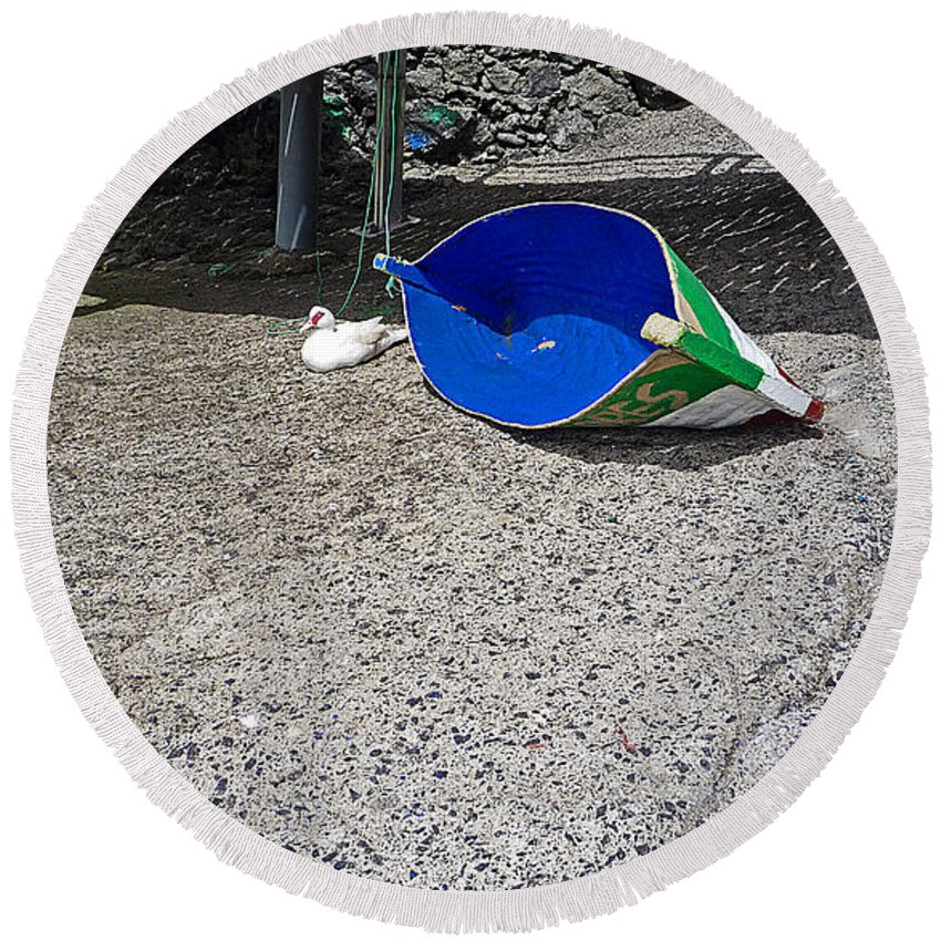 Boat Round Beach Towel featuring the photograph Interior Blue by Charles Stuart