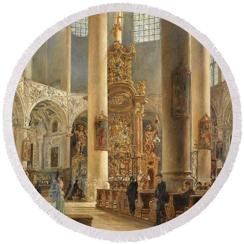 Rudolf Von Alt Round Beach Towel featuring the painting Interior Of The Franciscan Church Salzburg by Rudolf von Alt