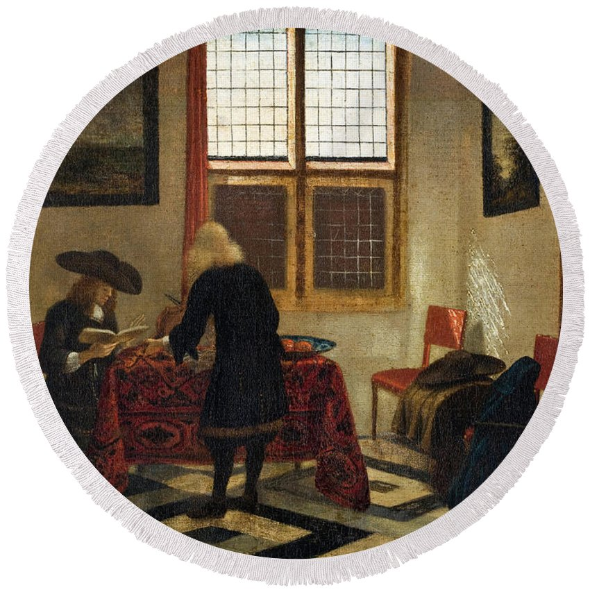 Pieter Janssens Elinga Round Beach Towel featuring the painting Interior Scene by Pieter Janssens Elinga