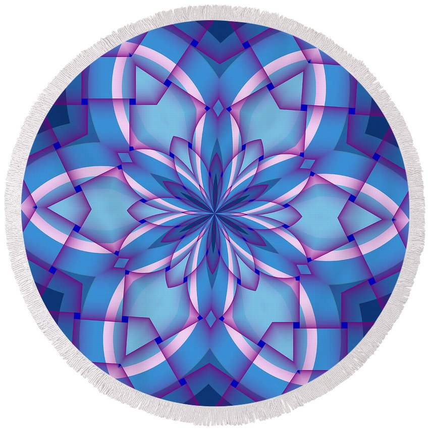 Abstract Round Beach Towel featuring the digital art Interlaced by Michelle McPhillips