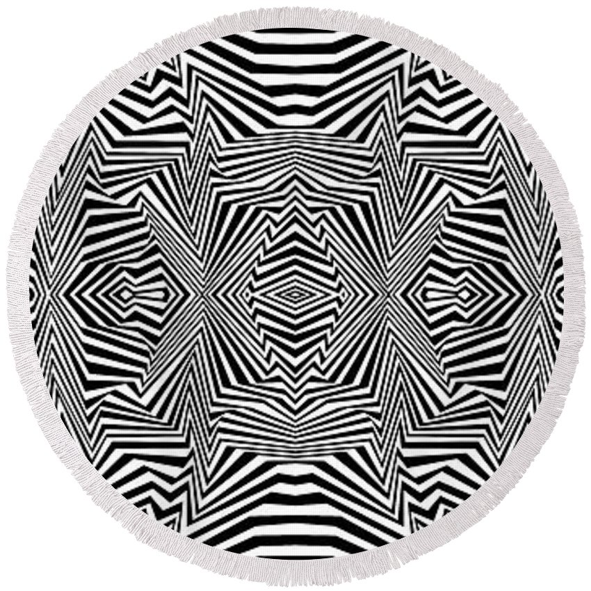 Dynamic Black And White Round Beach Towel featuring the painting Interlinking Everything 2 by Douglas Christian Larsen
